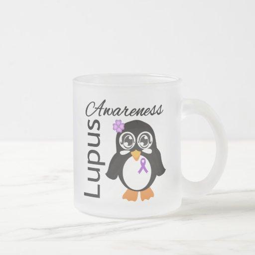 Lupus Awareness Penguin 10 Oz Frosted Glass Coffee Mug