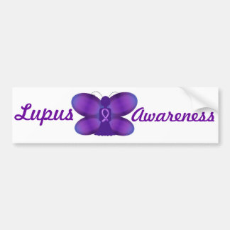 Lupus Awareness purple fairy butterfly Bumper Sticker