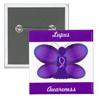 Lupus Awareness purple fairy butterfly Button