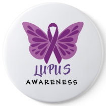 Lupus Awareness Purple Ribbon Butterfly Button