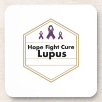Lupus Awareness Purple Ribbon Hope Beverage Coaster