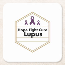 Lupus Awareness Purple Ribbon Hope Square Paper Coaster