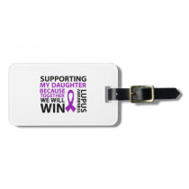 Lupus Awareness Purple Ribbon Supporting Daughter Bag Tag
