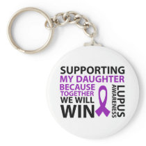 Lupus Awareness Purple Ribbon Supporting Daughter Keychain