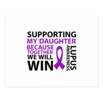 Lupus Awareness Purple Ribbon Supporting Daughter Postcard