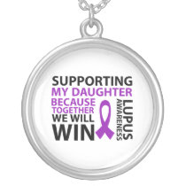 Lupus Awareness Purple Ribbon Supporting Daughter Silver Plated Necklace
