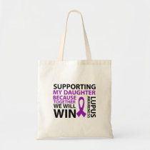 Lupus Awareness Purple Ribbon Supporting Daughter Tote Bag