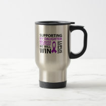 Lupus Awareness Purple Ribbon Supporting Daughter Travel Mug