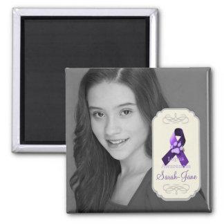 Lupus Awareness Ribbon Photo Keepsake 2 Inch Square Magnet