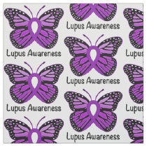 Lupus Awareness Ribbon with Butterfly Fabric