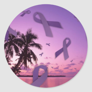 Lupus Awareness Ribbons Float Through the Tropics Classic Round Sticker