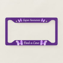 Lupus Awareness Support Deep Purple Butterfly License Plate Frame