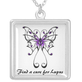 Lupus Butterfly Square Pendant Necklace