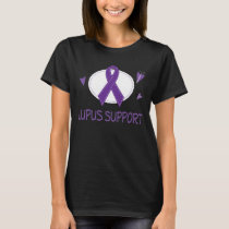 Lupus Disease Support Purple Ribbon Ladies Tee