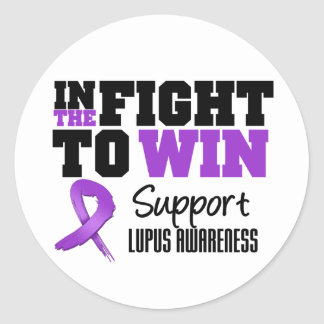 Lupus en la lucha a ganar etiqueta redonda