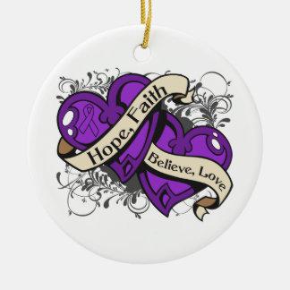 Lupus Hope Faith Dual Hearts Ceramic Ornament