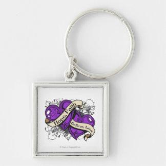 Lupus Hope Faith Dual Hearts Keychain