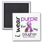 Lupus I WEAR PURPLE FOR MY DAUGHTER 43 2 Inch Square Magnet