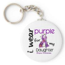 Lupus I WEAR PURPLE FOR MY DAUGHTER 43 Basic Round Button Keychain