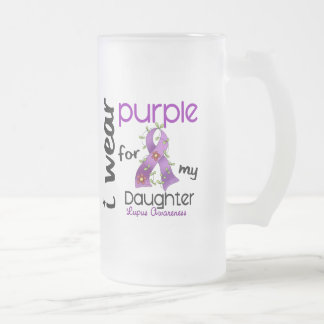 Lupus I WEAR PURPLE FOR MY DAUGHTER 43 Frosted Glass Beer Mug