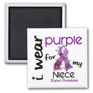 Lupus I WEAR PURPLE FOR MY NIECE 43 2 Inch Square Magnet