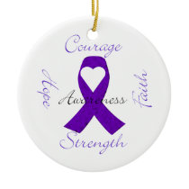 Lupus Pancreatic Thyroid purple ribbon awareness Ceramic Ornament