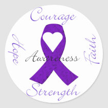 Lupus Pancreatic Thyroid purple ribbon awareness Classic Round Sticker