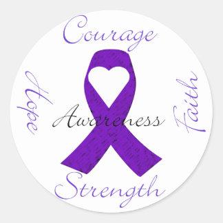 Lupus Pancreatic Thyroid purple ribbon awareness Classic Round Sticker