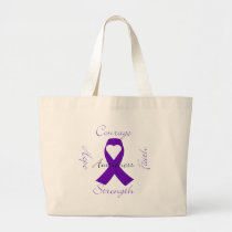 Lupus Pancreatic Thyroid purple ribbon awareness Large Tote Bag