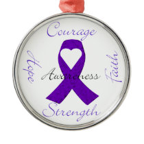 Lupus Pancreatic Thyroid purple ribbon awareness Metal Ornament