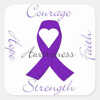Lupus Pancreatic Thyroid purple ribbon awareness Square Sticker
