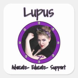Lupus, pegatinas de la Abogado-Educar-Ayuda Calcomanías Cuadradas Personalizadas