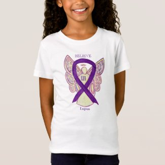 Lupus Purple Awareness Ribbon Angel Custom Shirt
