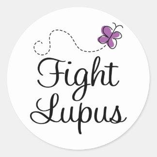 Lupus purple butterfly classic round sticker