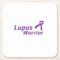 Lupus Warrior Lupus Awareness Purple Ribbon Square Paper Coaster