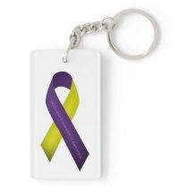Lupus with Endometriosis Awareness Purple Yellow Keychain