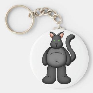 Lura's Critter Plump Black Cat Basic Round Button Keychain