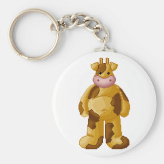 Lura's Critter Plump Cow Basic Round Button Keychain