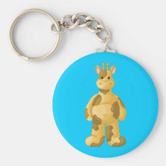 Lura's critter plump giraffe basic round button keychain