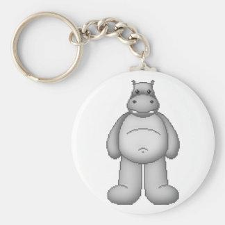 Lura's Critter Plump Hippo Basic Round Button Keychain