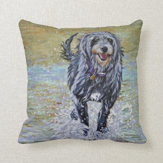 Lurcher on the beach cushion