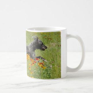 Lurcher Running Through A Flower Field - Mug