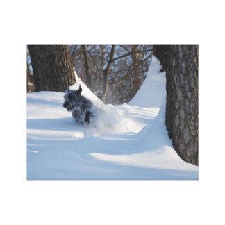 Lurcher Running Through Snow - Canvas