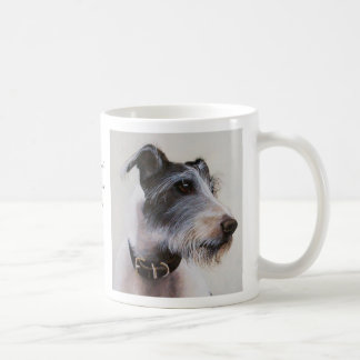 Lurcher watercolor with breed information text coffee mug