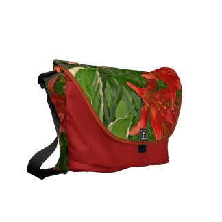 Luscious, Bright Red Day Lilies Messenger Bag
