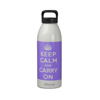luscious Lavender Keep Calm and Carry On Reusable Water Bottles