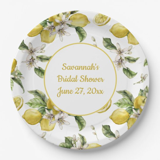 Luscious Lemons and Greenery Monogrammed Paper Plate