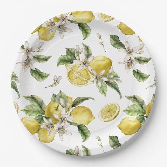 Luscious Lemons and Greenery  Paper Plate