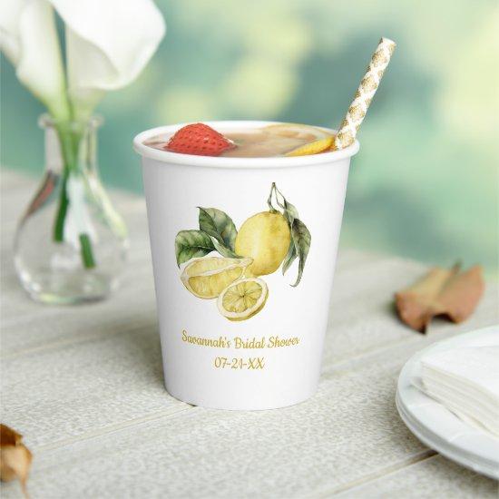 Luscious Lemons Bridal Shower Paper Cups