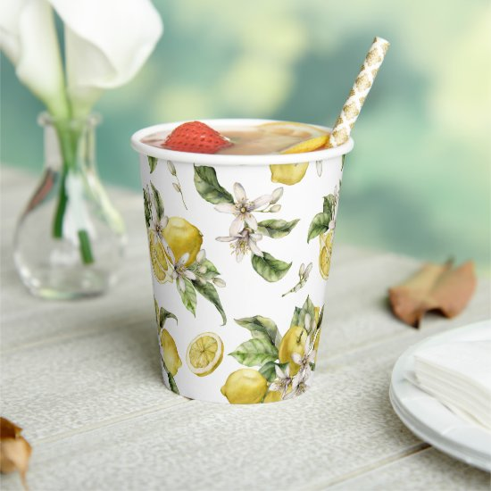 Luscious Lemons Pattern Bridal Shower Paper Cups